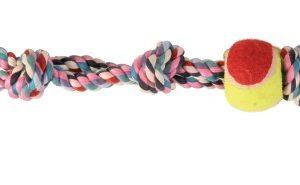 TRIXIE (3280) SZNUR BAWEŁNIANY Z PIŁKĄ TENISOWĄ 50cm z uchwytem do wspólnej zabawy 15cm ø 6 cm