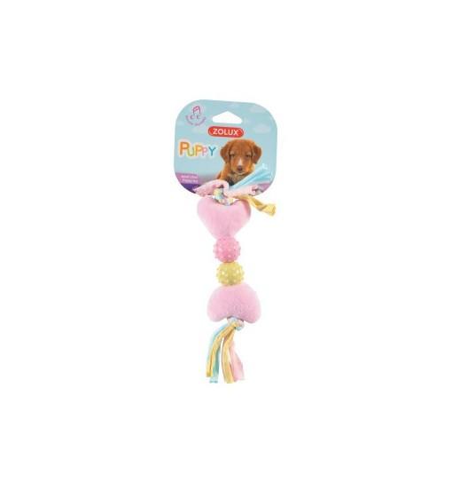 Zolux Zabawka pluszowa Puppy – kość - serce różowa